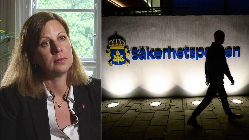 Christina Kiernan, samordnare mot våldsbejakande extremism i Stockholms stad, samt Säpos logotyp i mörker.