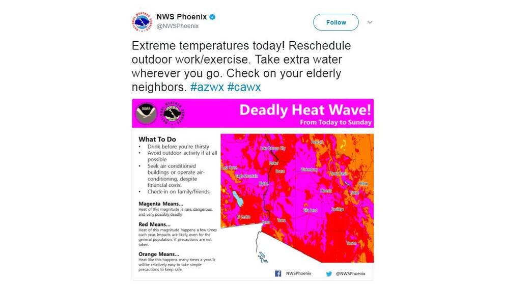 Flera meteorolograpporter visar värmeskalan i magenta, en neonaktig lilarosa färg som markerar extrem hetta.