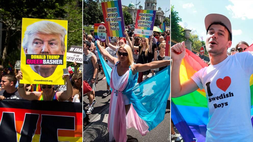 Ögonblicksbilder ut Pride-firande i New York, Belgrad och Paris i helgen.