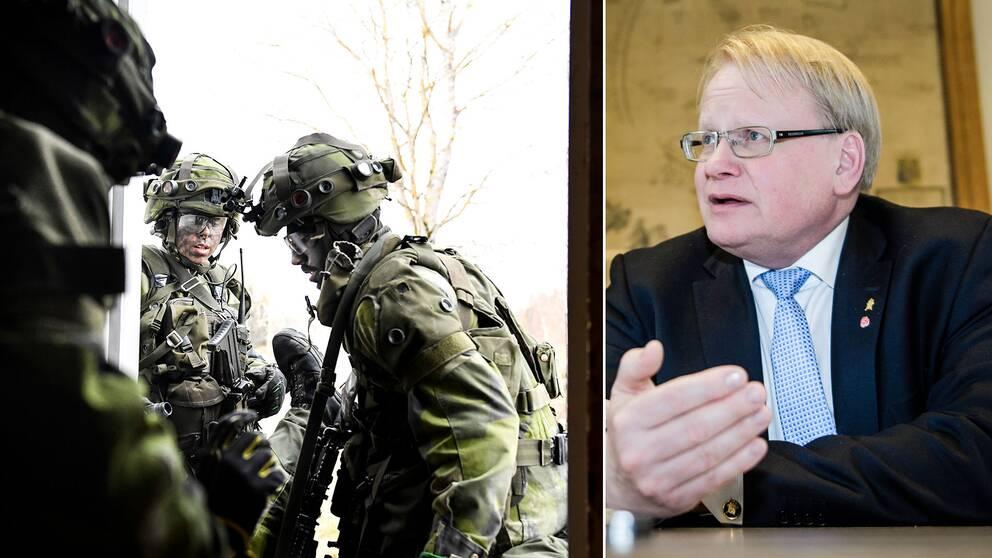 Arkivbild på svenska militärer under övning i markstrid, samt Peter Hultqvist (S).