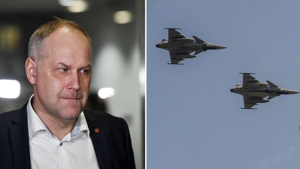 Jonas Sjöstedt (V) till vänster, Jas-gripen till höger