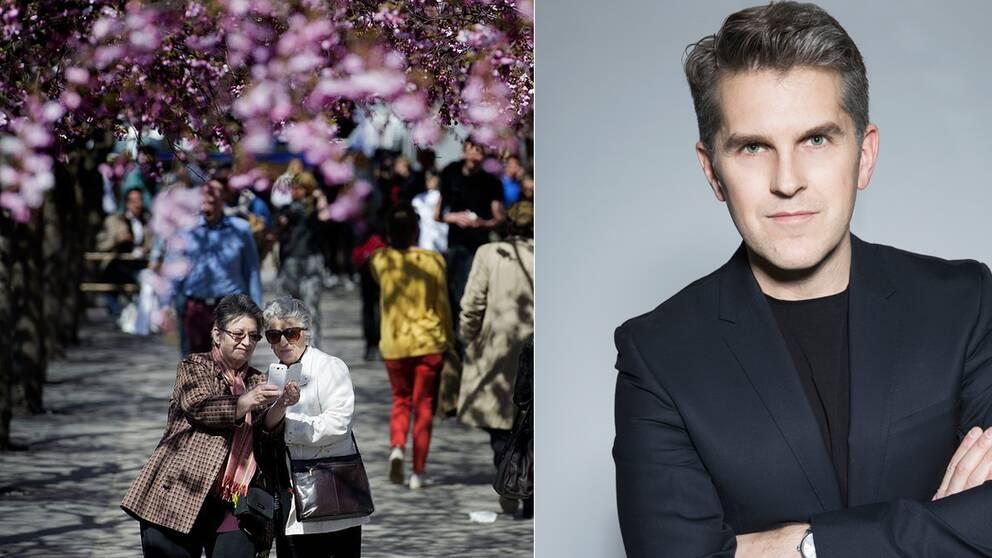 John Mellkvist, till höger, anser att attityden till äldre hamnat ordentligt på glid. Till höger två selfie-damer under körsbärsträden i Kungsträdgården.