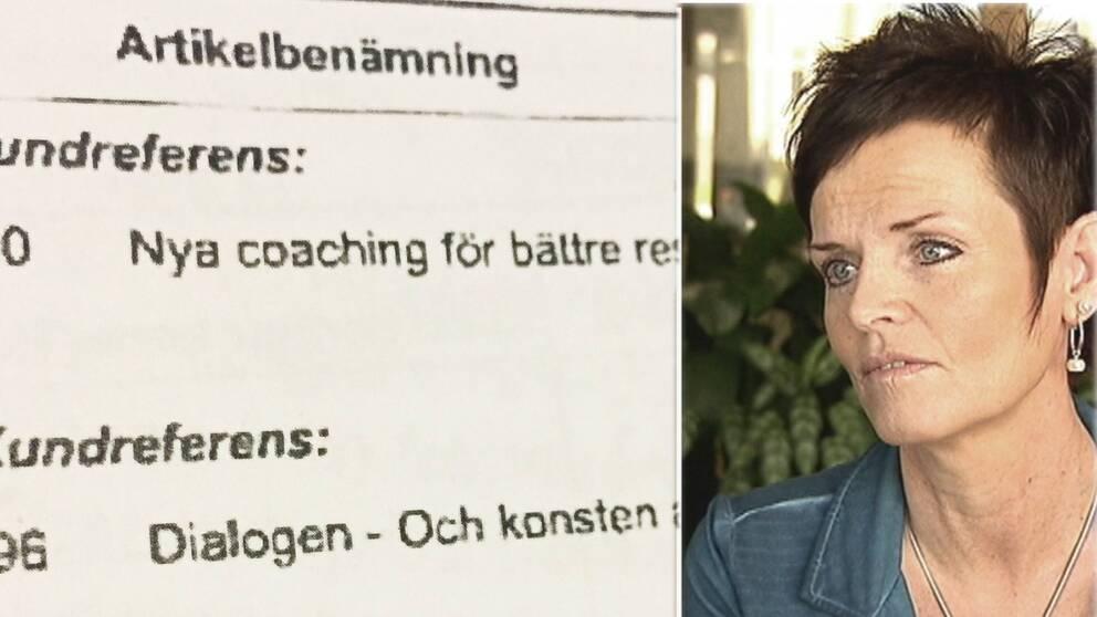 Lena Thelins porträtt och faktura på kurslitteratur