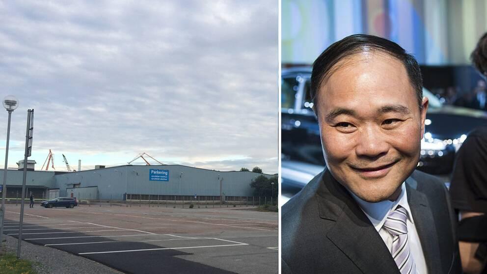 Bild på den tomt där det nya utvecklingscentret ska byggas och Li Shufu, Geelys grundare.