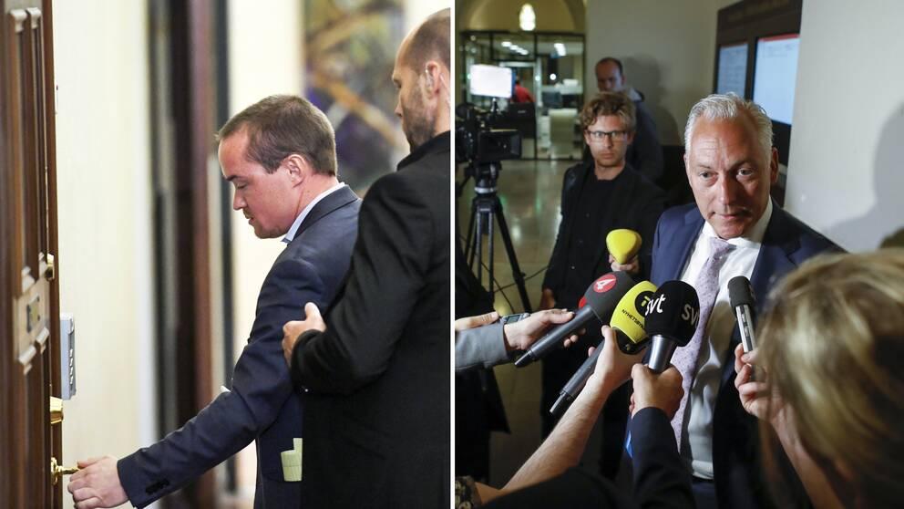 Kent Ekeroth och hans advokat Johan Eriksson tar emot beskedet om den fällande domen på onsdagen klockan 11.