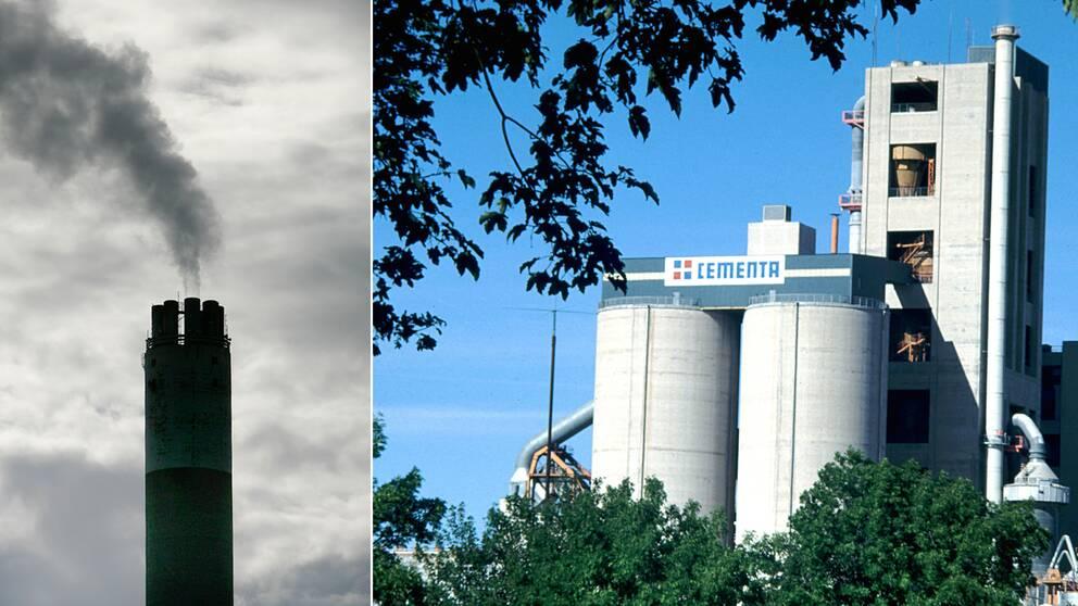 Koldioxidutsläpp. Cementas anläggning i Slite på Gotland.
