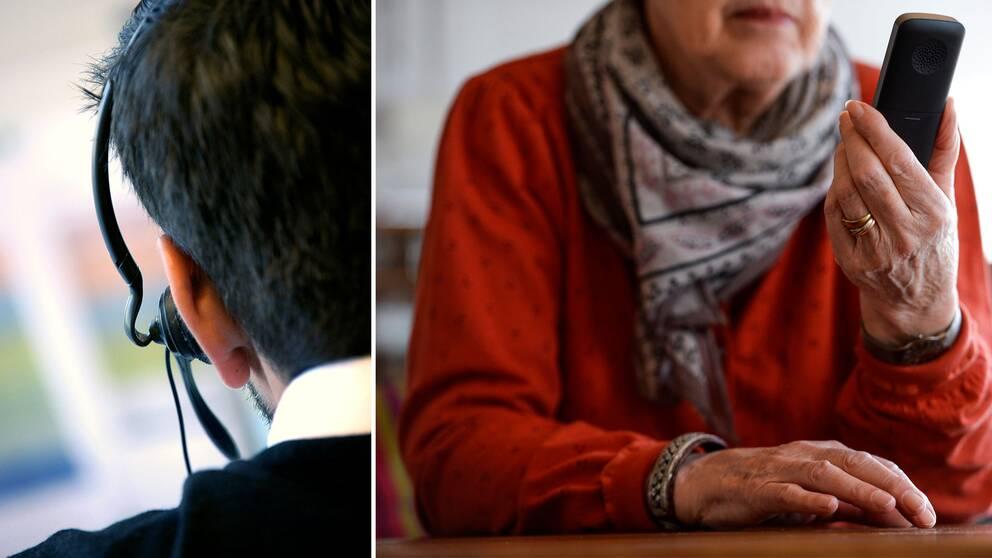 En man med telefonheadset och en äldre kvinna med telefon i handen.