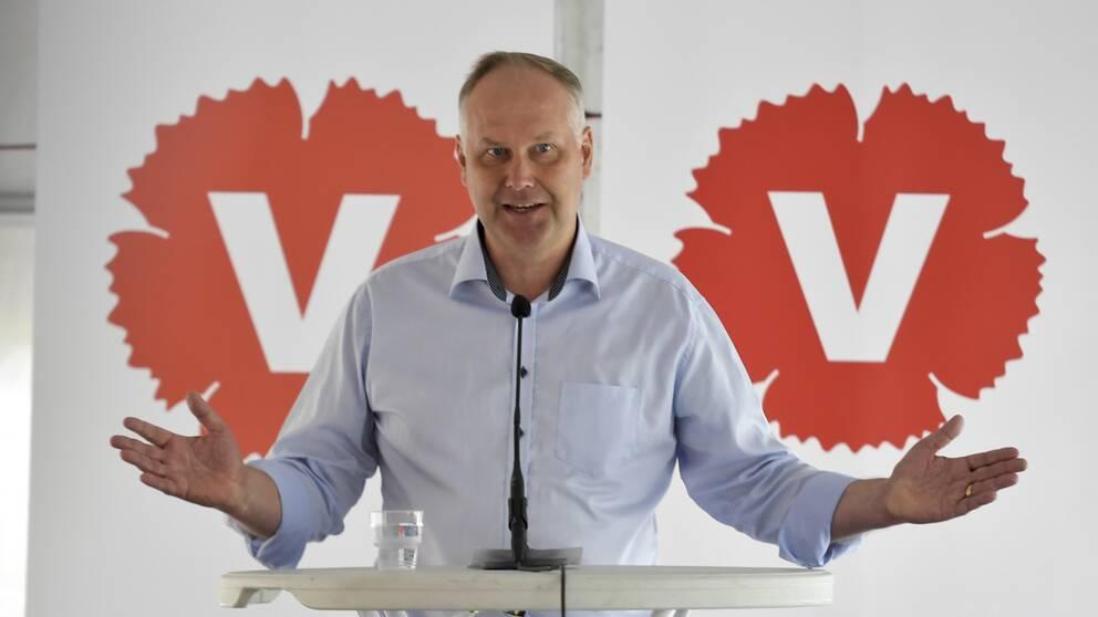 Vänsterpartiets partiledare Jonas Sjöstedt (V) från Almedalen 2017.
