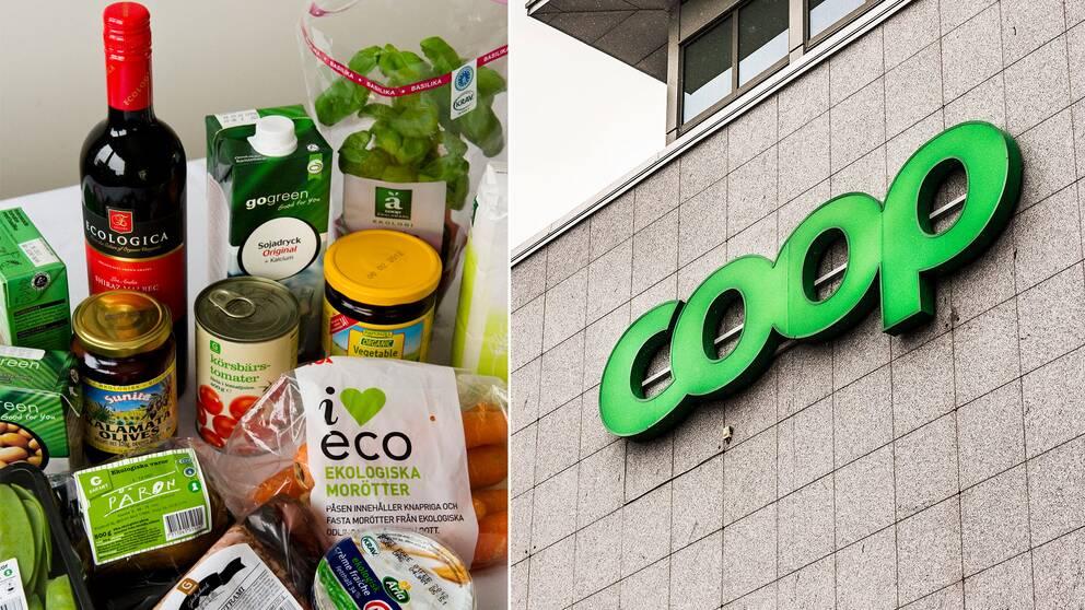 Diverse ekologiska varor samt Coops logotyp.