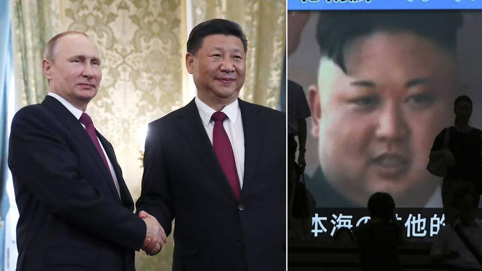 Vladimir Putin och Xi Jinping samt Kim Jong-Un på en skärm.
