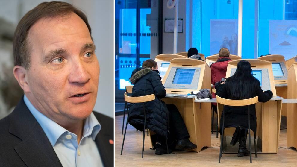 """""""Vi har ungefär 100.000 jobb som inte blir tillsatta, säger Stefan Löfven (S)"""", säger statsminister Stefan Löfvén (S)."""