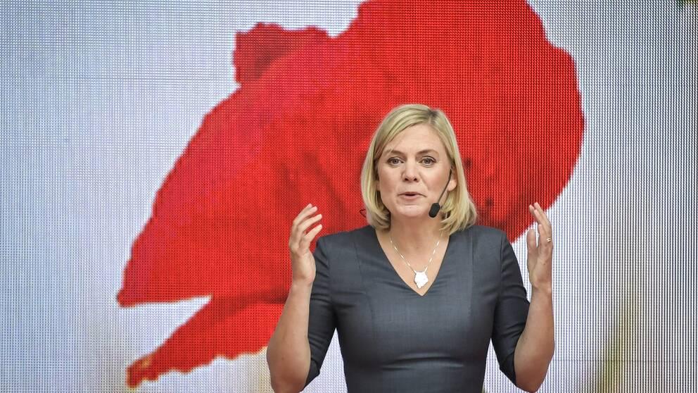 Finansminister Magdalena Andersson (S) på Almedalens scen