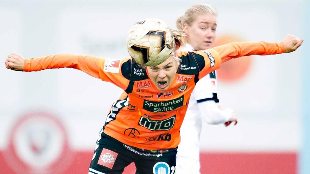 Belgiens Lorca van de Putte känner den svenska fotbollspubliken igen. Hon spelar till vardags i Kristianstad.