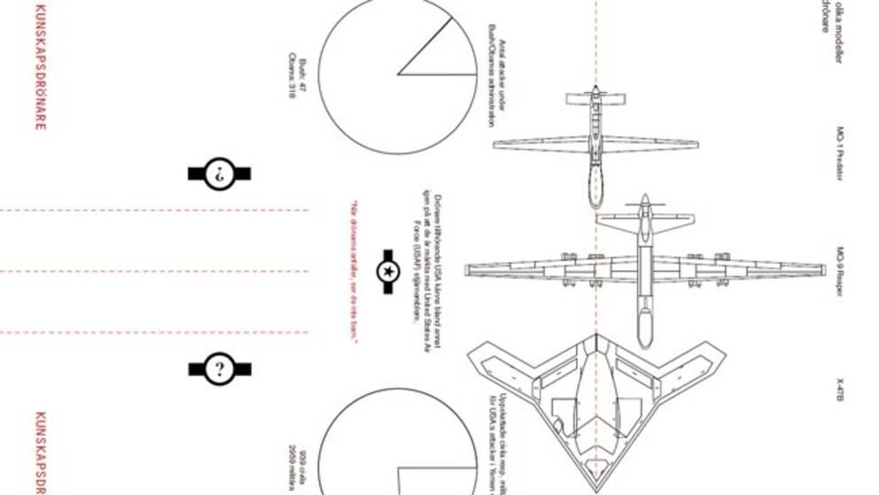 Detalj ur formgivaren Knut Stahles ritning av en pappersdrönare.