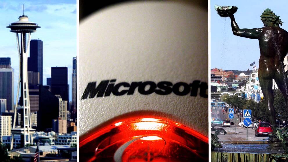 Bild på Seattles skyline, en mus från Microsoft och Poseidonstatyn i Göteborg.