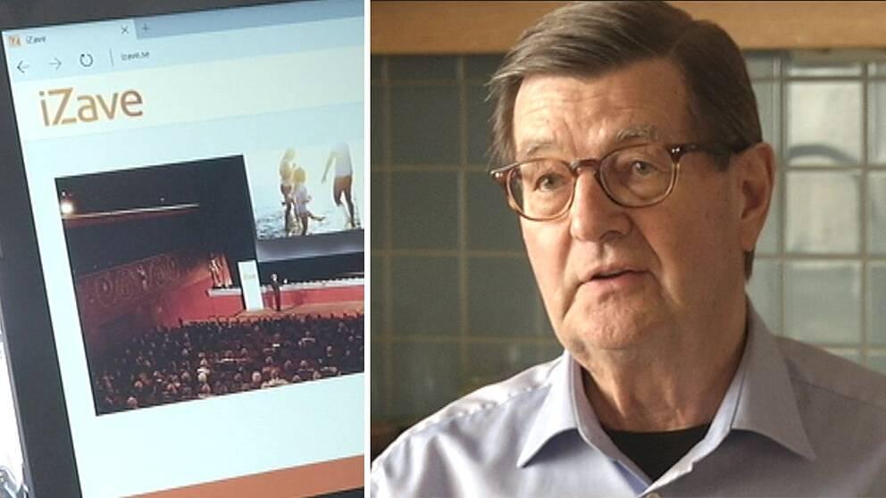 Skärmdump på Izaves hemsida och bild på Yngve Christenson.