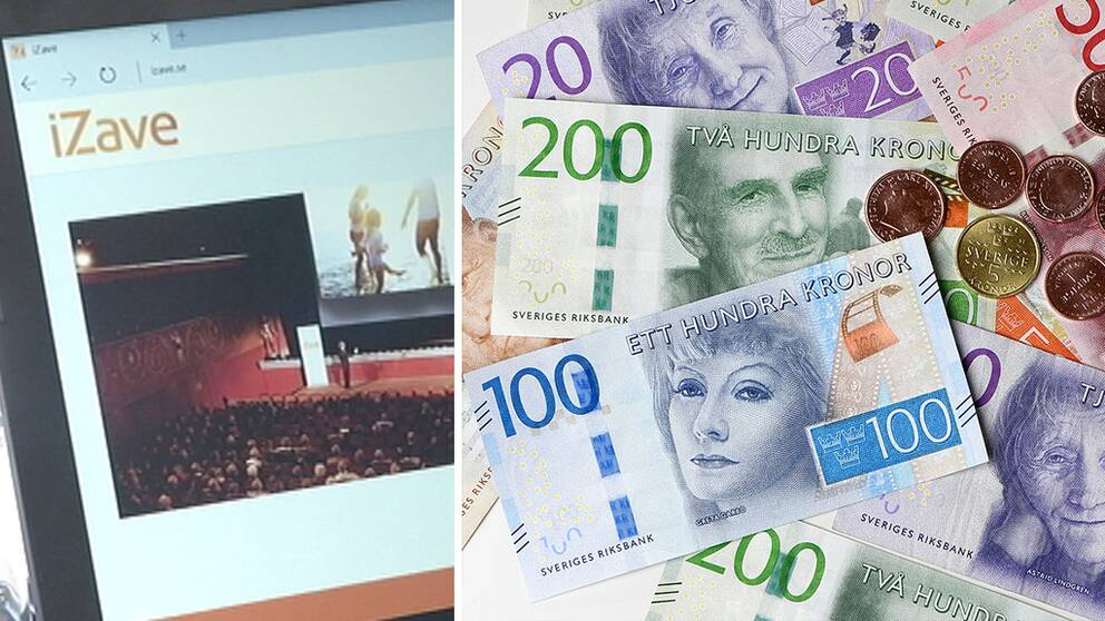 Skärmdump på Izaves hemsida och bild på svenska pengar.