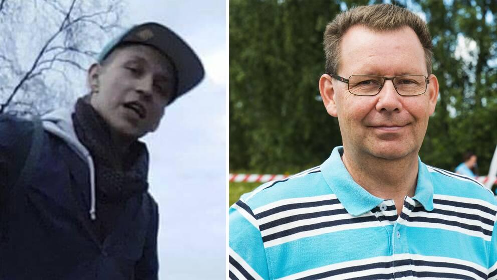 Patrik Linfeldt, som varit försvunnen i sju veckor. Till höger hans pappa Jörgen Linfeldt.