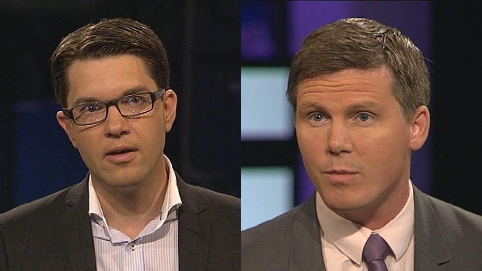 Det var hårda tongångar när Sverigedemokraternas Jimmie Åkesson debatterade syriska flyktingar med integrationsminister Erik Ullenhag i Agenda.