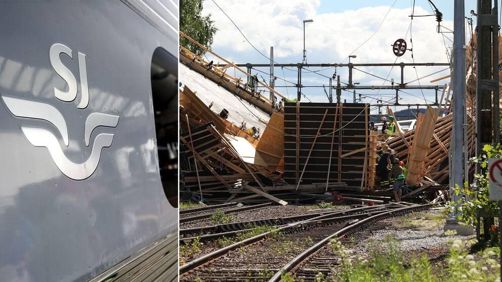 Bild på den rasade bron och sj-logga