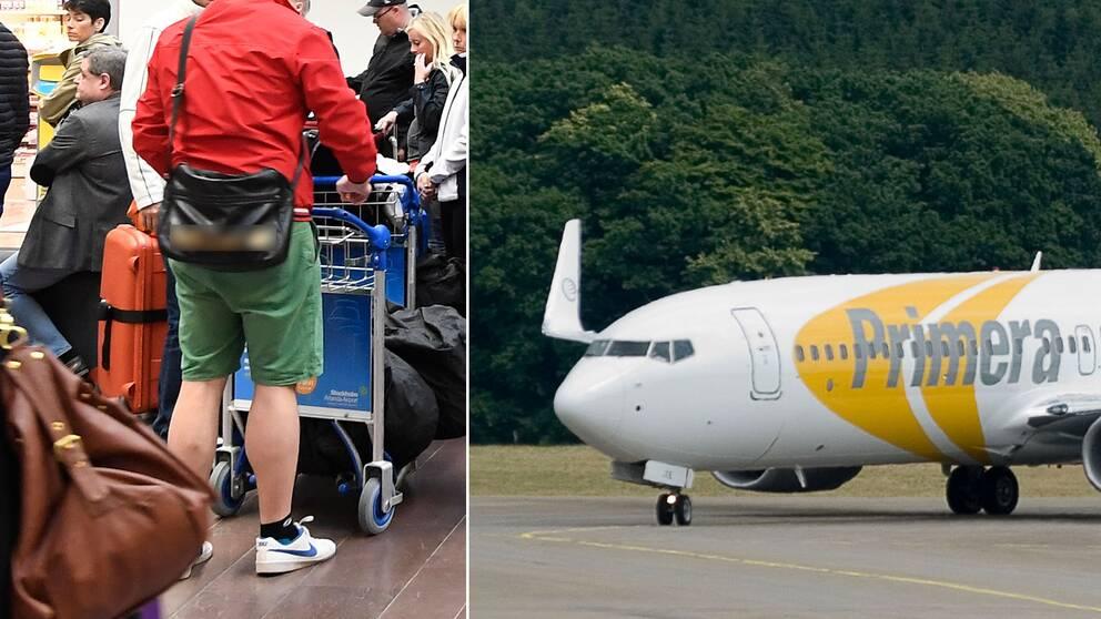 Väntande resenärer på Arlanda samt ett Primera Air-flygplan.