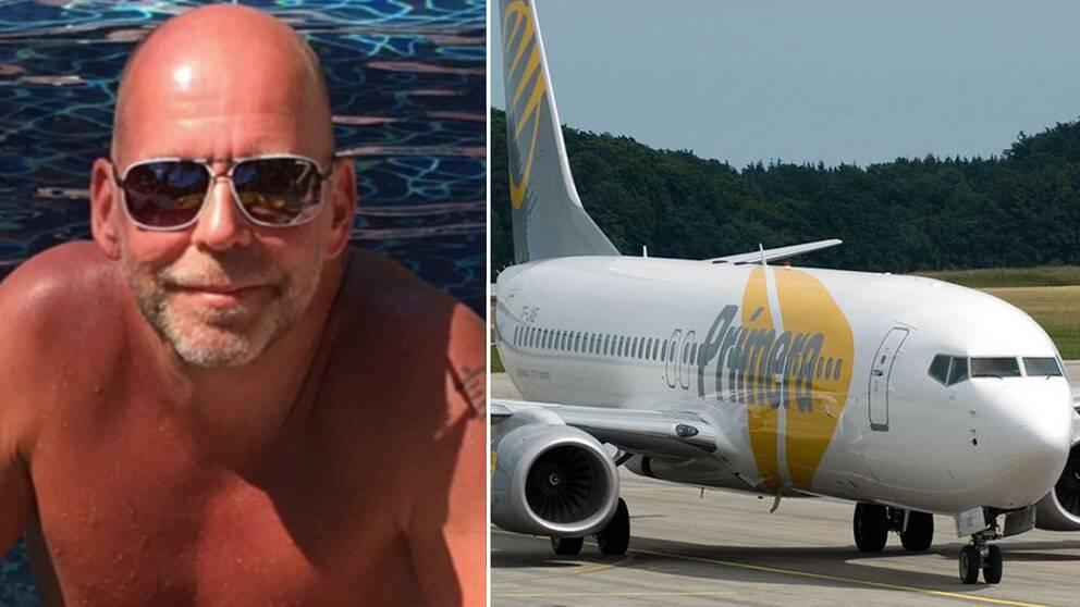 Resenären Micke Dahl och bild på Primera Air-flygplan.