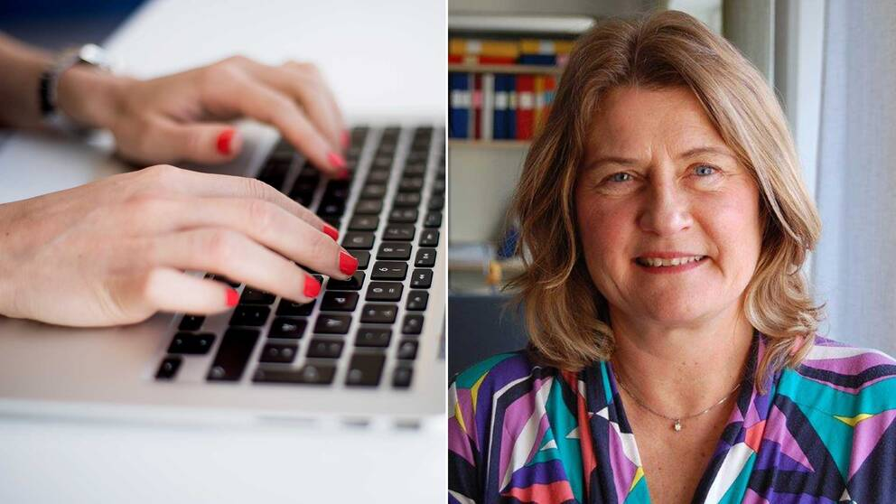 Händer som skriver på ett tangentbord intill en bild på Agneta Runmarker