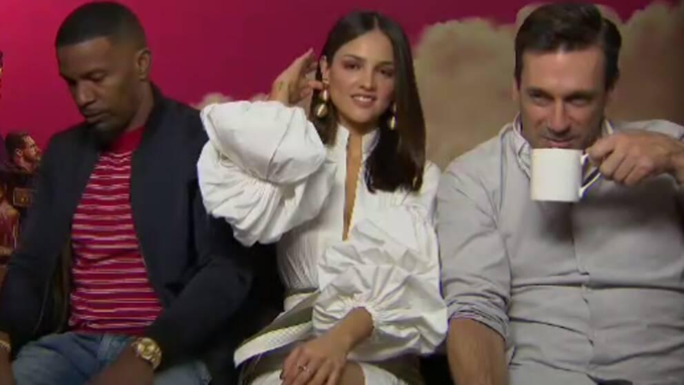 Skurkarna i Baby Driver spelas av Jamie Foxx, Eiza Gonzales och Jon Hamm.