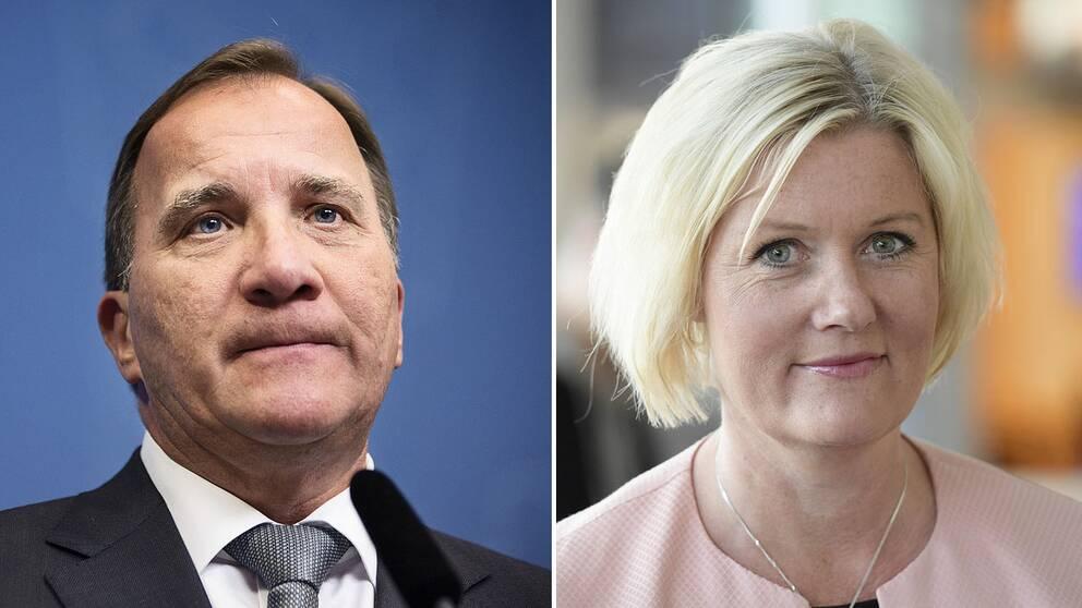 Statsminister Stefan Löfven och partisekreterare Lena Rådström Baastad