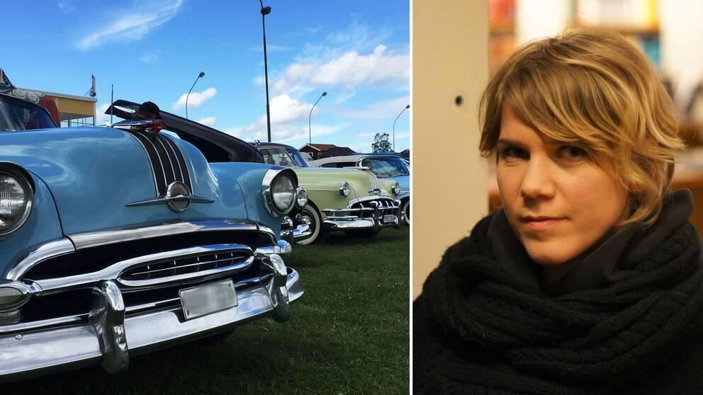Två bilder: Till vänster veteranbilar på rad, till höger en bild på Annelie Johansson.