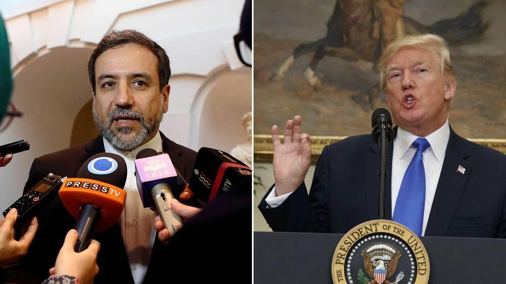 Irans vice utrikesminister Abbas Araghchi och USA:s president Donald Trump.