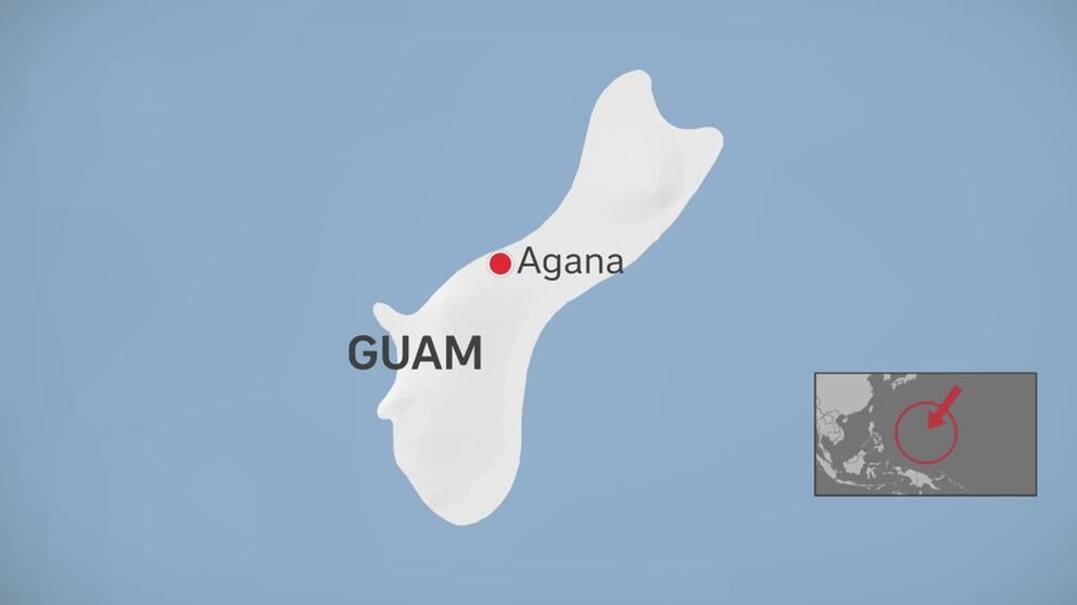 Karta över Guams läge i Stilla ahvet