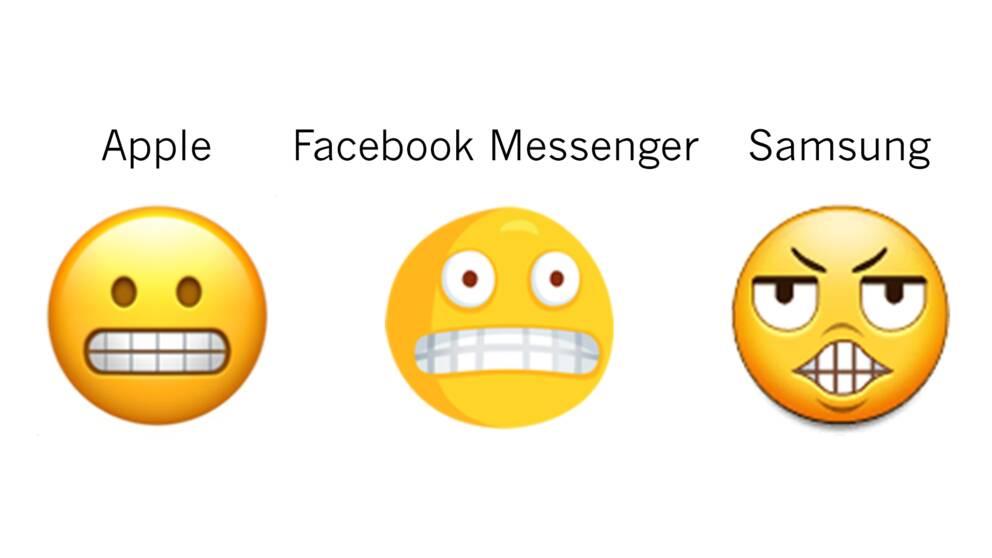 """Tre tolkningar av """"grimaserande emoji""""."""