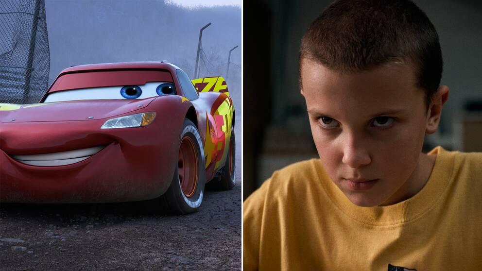 Bild från Disneys Bilar 3, till vänster, och Netflix Stranger things, till höger.