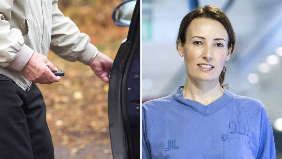 En äldre man låser upp bilen samt en bild på Heidi Stensmyren.