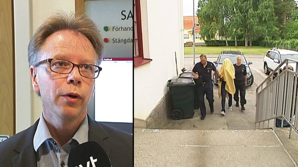 en man med glasögon intervjuas, en person under filt förs in mot tingshuset.