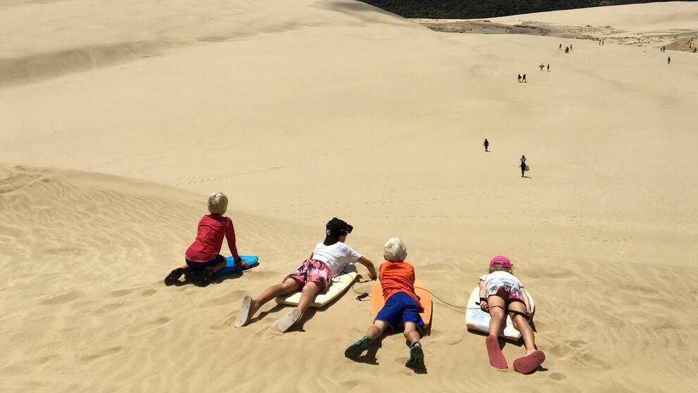 Barn ligger på magen i sanddyner på Nya Zeeland