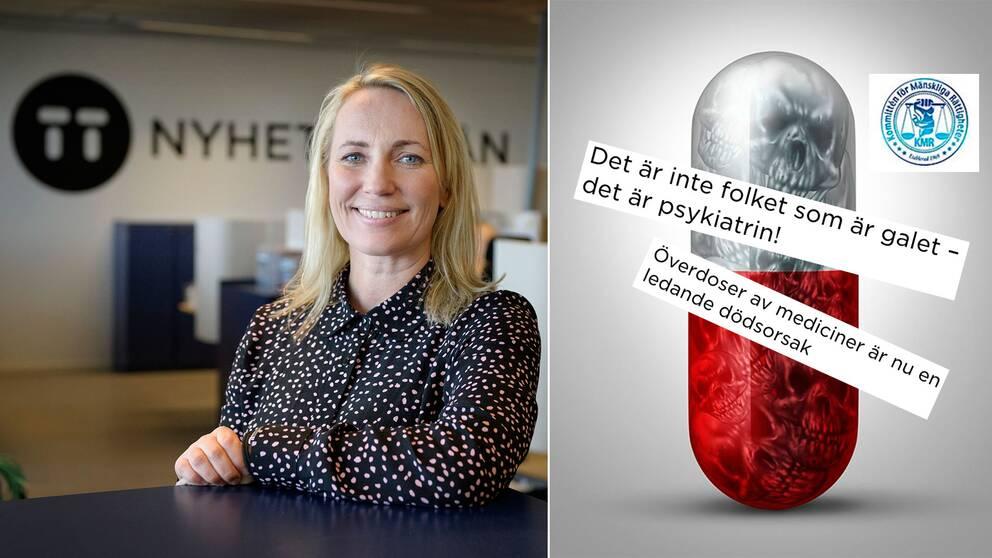 Lina Hedenström, vice vd för Nyhetsbyrån TT. Till höger: Bild och rubriker från Kommittén för mänskliga rättigheters pressutskick.