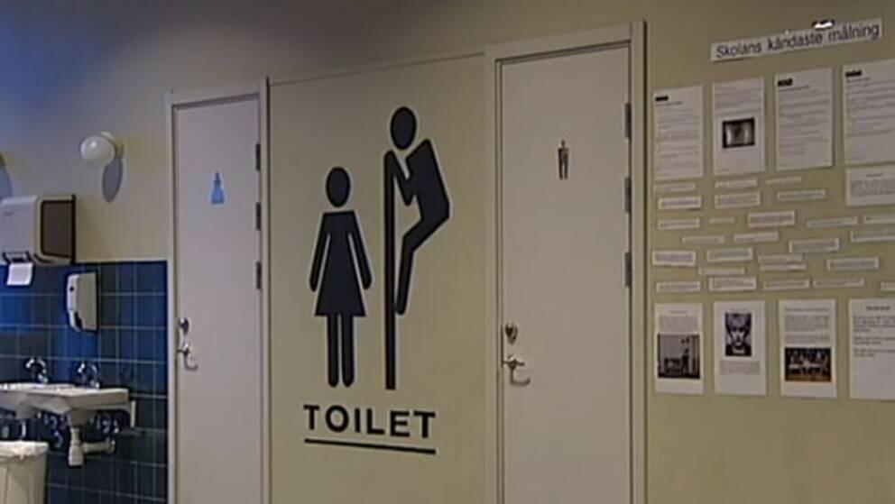 Toalettmålningen på Tunaskolan i Luleå målades över i vintras.