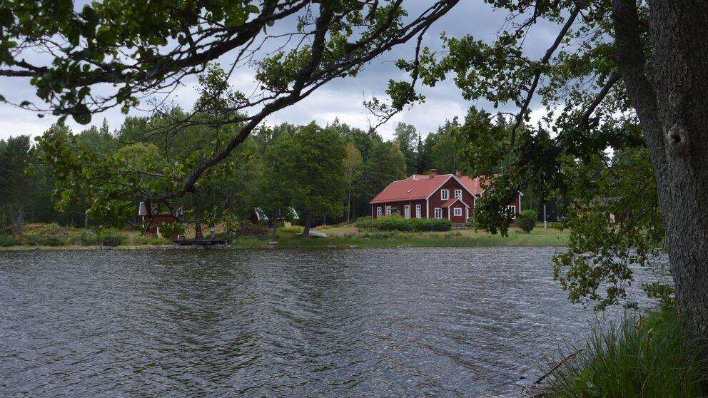 Sjön Tisaren med ett träd i förgrunden och ett rött hus i bakgrunden.