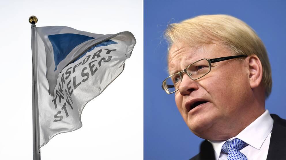 Till vänster Transportstyrelsens flagga. Till höger försvarsminister Peter Hultqvist.