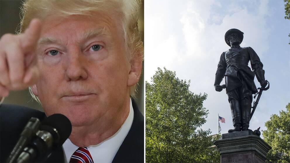 USA:s president Donald Trump, staty av Stonewall Jackson.