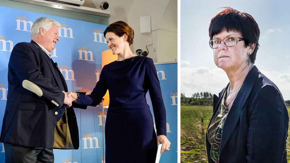 Lars-Ingvar Ljungman (M), ordförande för Skånemoderaterna skakar hand med partiledaren Anna Kinberg Batra (M). Till höger Pia Almström (M), kommunstyrelsens ordförande i Kävlinge kommun.