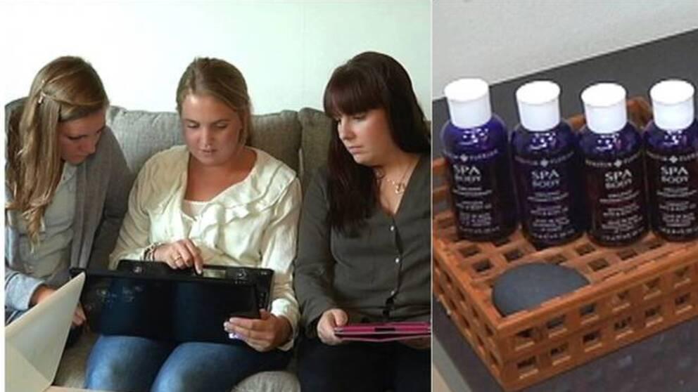 Massörerna Mia Senor, Nina Sellman och Sanna Gunnesson fick svår kontaktallergi efter att ha arbetat med Kerstin Florians aromaoljor på Hagabadet Spa i Göteborg
