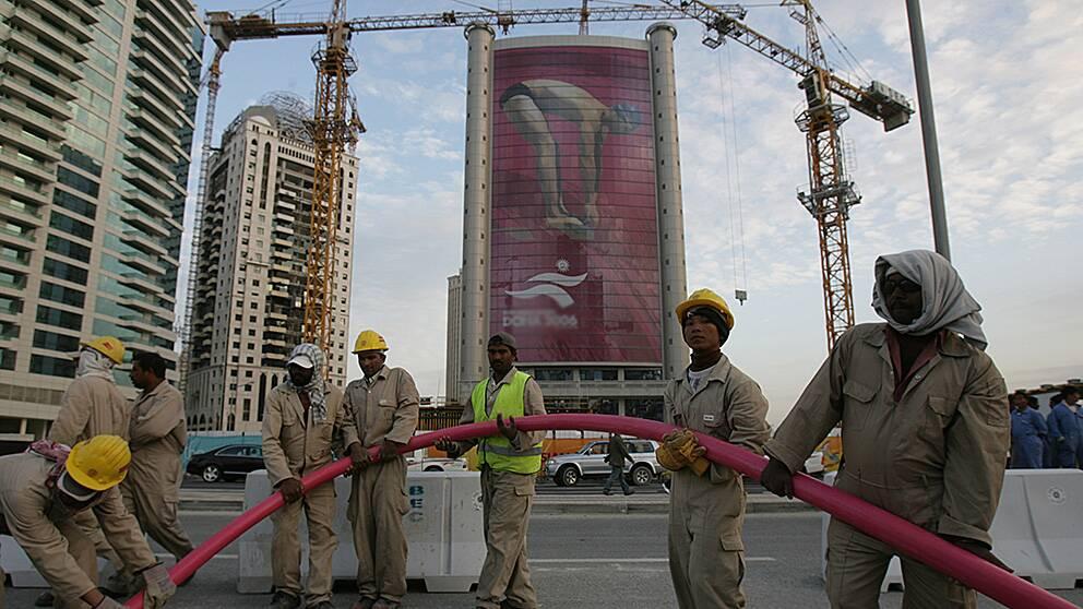 Asiatiska byggarbetare i Qatars huvudstad Doha