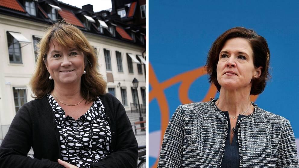 Två kvinnor i en splitbild, till vänster en kvinna med axellångt mellanbrunt hår fotad framför en vit byggnad. Till höger en kvinna med kortare brunt hår, fotad mot blå bakgrund.