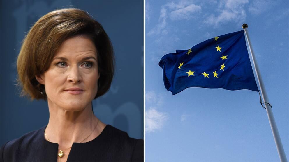 Till vänster Anna Kinberg Batra. Till höger en eu-flagga som vajar i vinden mot blå himmel.