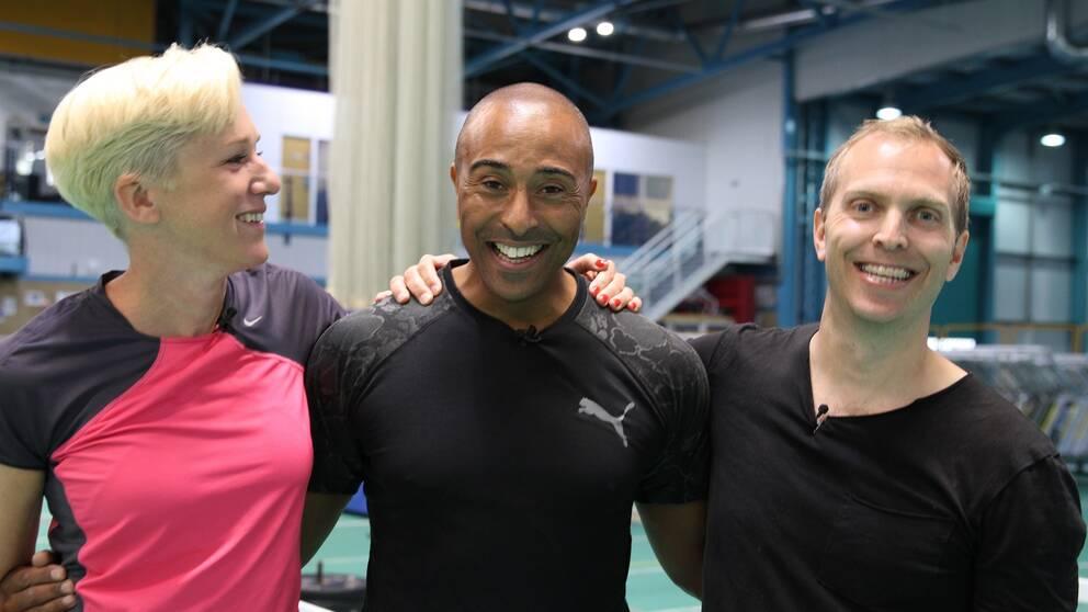 Kajsa Bergqvist, Colin Jackson och Peter Häggström.