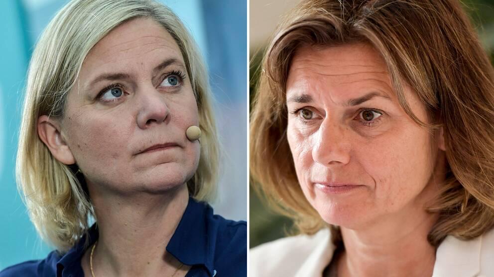 Magdalena Andersson och Isabella Lövin håller pressträff om de remitterade skatteförslagen.