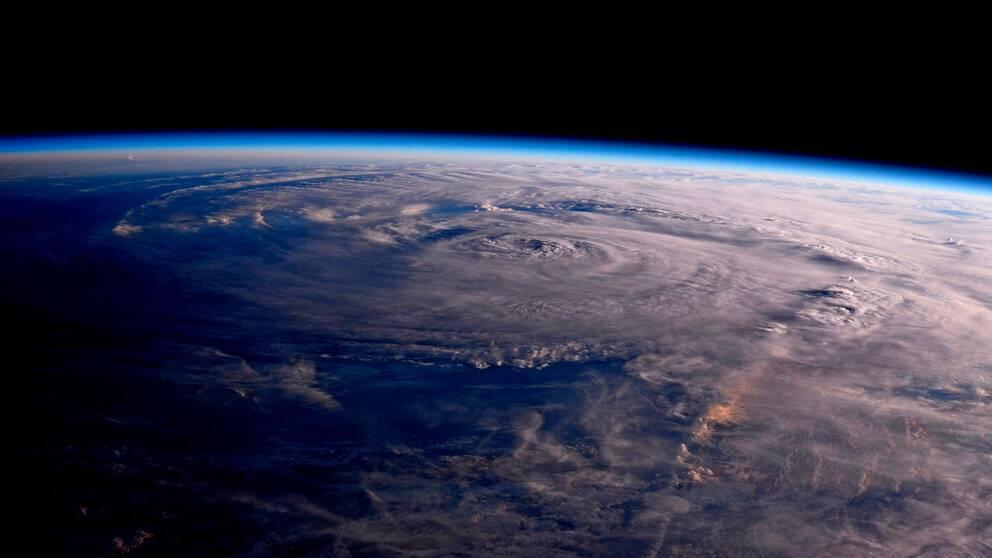 Orkanen Harvey sedd från den internationella rymdstationen den 26 augusti.